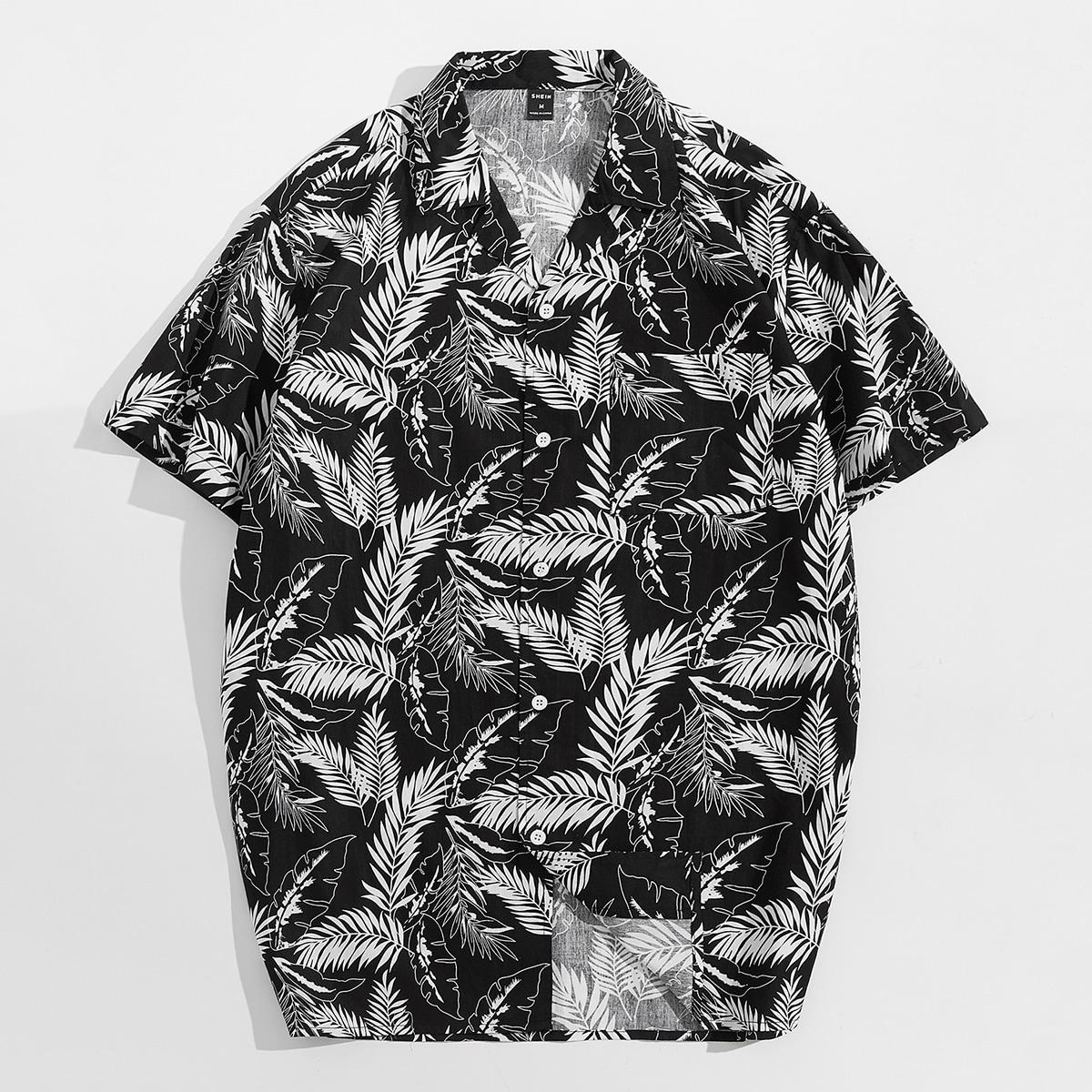 Мужской Рубашка с тропическим принтом на пуговицах SheIn smshirt07210616917