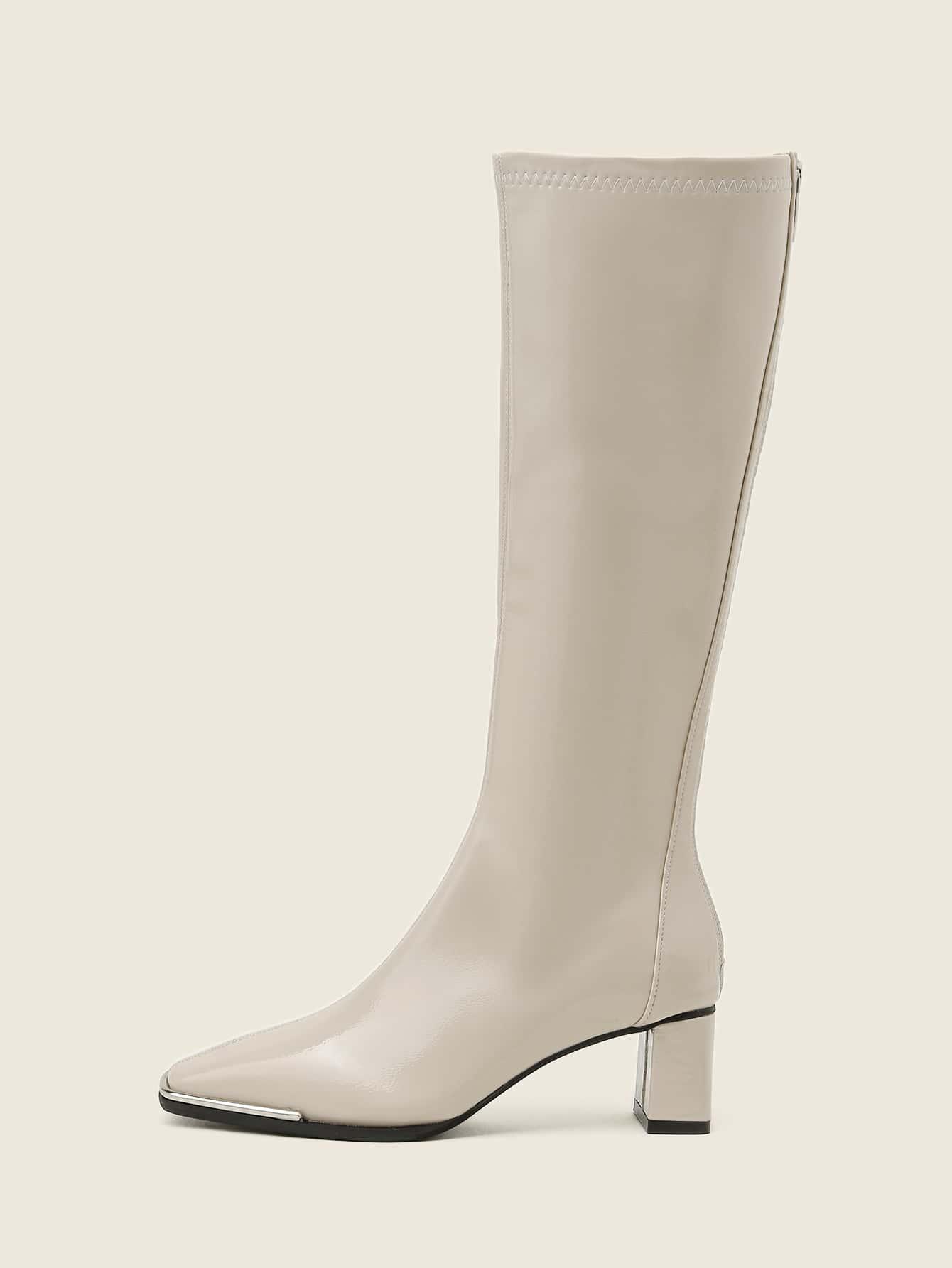 Minimalist Over Knee Chunky Heeled Classic Boots