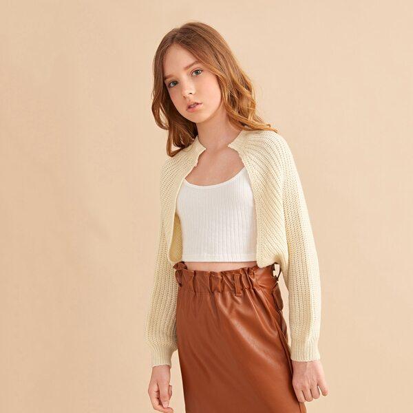 Girls Raglan Sleeve Open Front Cardigan, Apricot