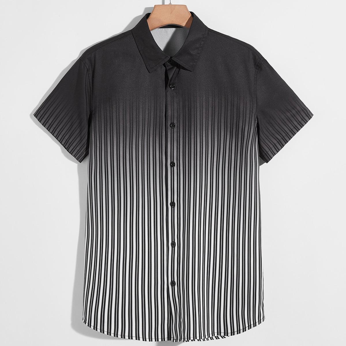 Мужской Рубашка омбре в полоску SheIn sm2106195475654484
