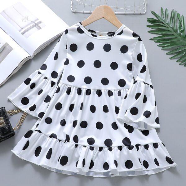 Girls Polka Dot Flounce Sleeve Ruffle Hem Dress, White