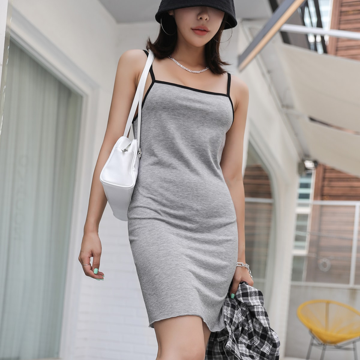 Contrast Binding Cami Dress Without Blouse, SHEIN  - buy with discount