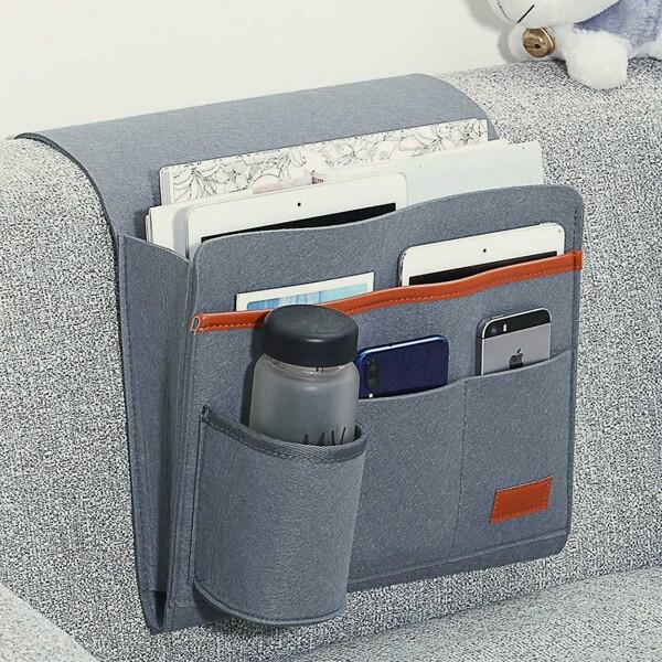 1pc Bedside Hanging Felt Storage Bag, Grey