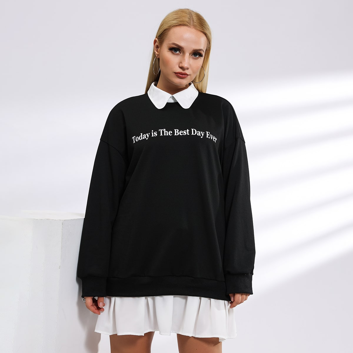 Plus Letter Graphic Collar Sweatshirt, SHEIN  - buy with discount