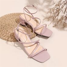 Minimalist Ankle Strap Chunky Sandals