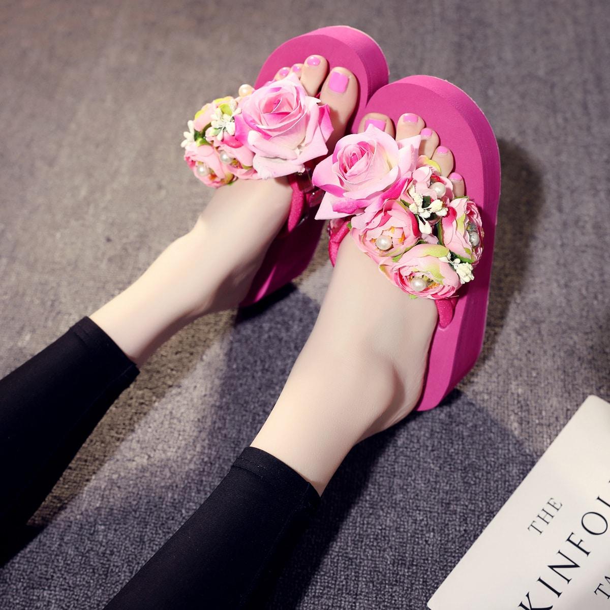 Вьетнамки с цветочным декором SheIn swshoes25210514105
