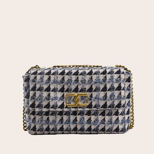 Metal Decor Plaid Pattern Flap Square Bag, Blue and white