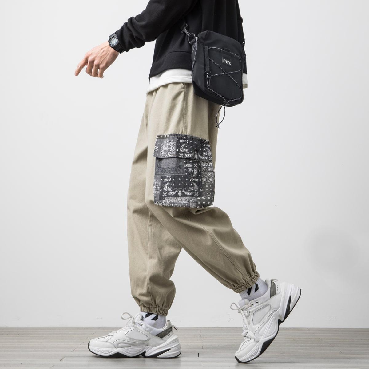 Guys Paisley Print Patch Pocket Cargo Pants