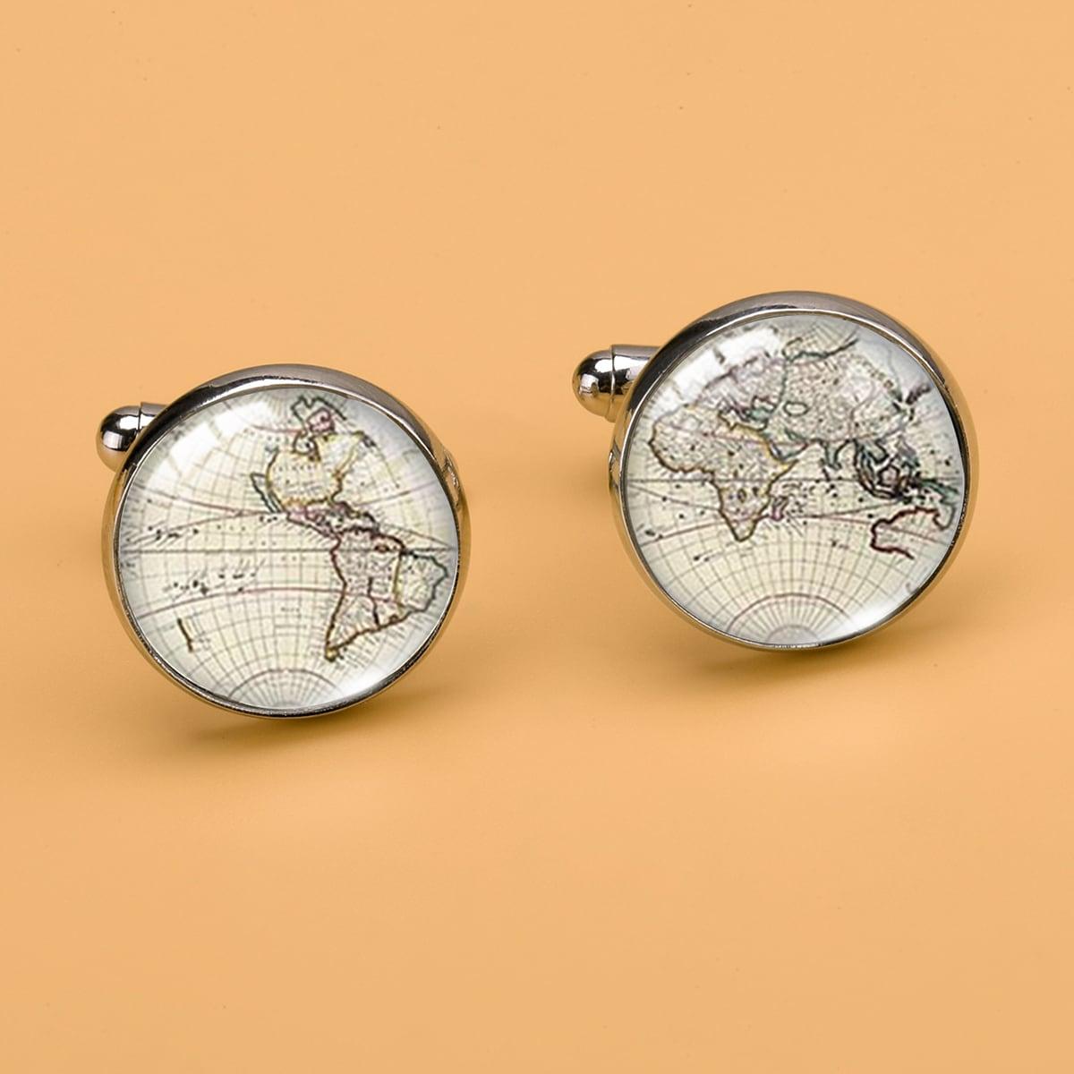 Мужской Запонки с принтом географической карты