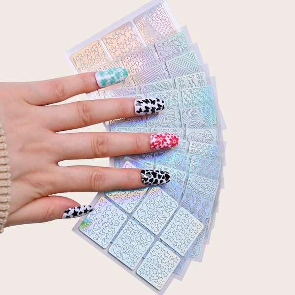 12sheets Mix Pattern Nail Sticker, Silver