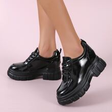 Lace Up Front Wedge Oxford Shoes