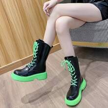 Contrast Lace-Up Boots