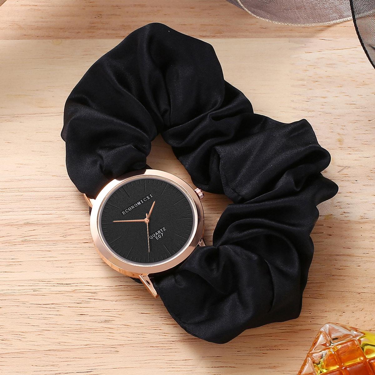 Scrunchie Strap Round Pointer Quartz Watch, SHEIN  - buy with discount