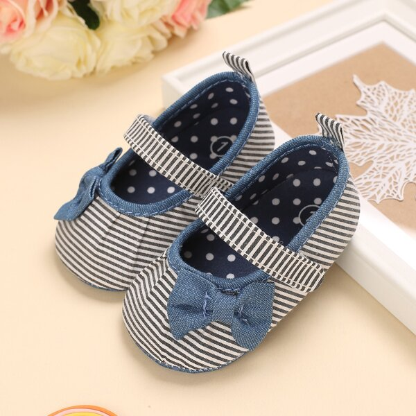 Baby Striped Pattern Bow Decor Flats, Blue