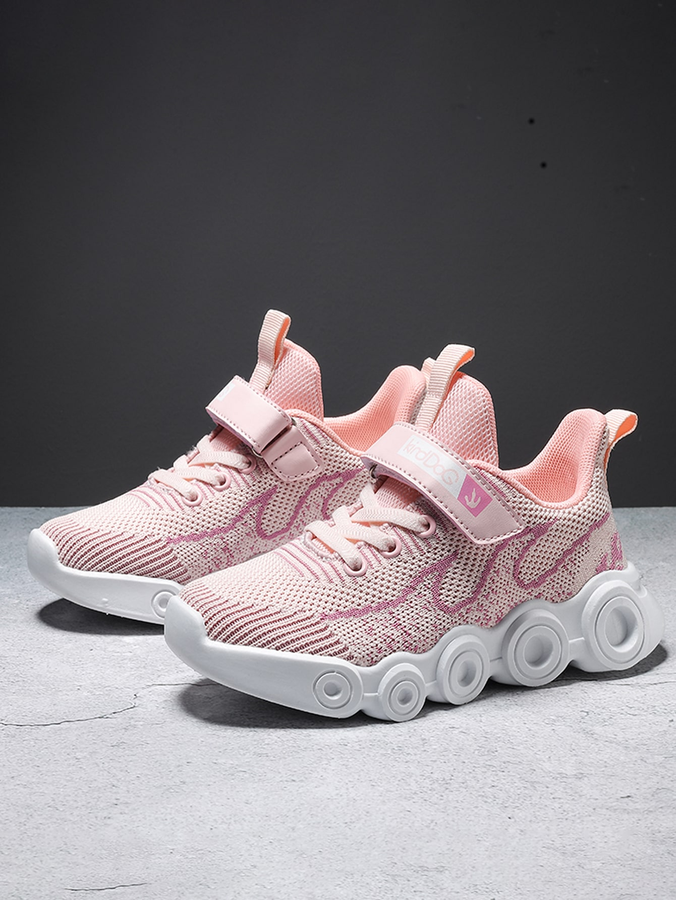 Girls Fire Graphic Velcro Strap Knit Sneakers