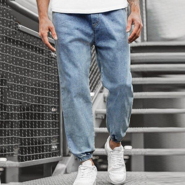 Men Washed Jogger Jeans, Light wash