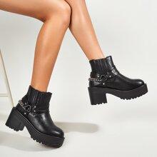Chain Decor Slip-On Boots