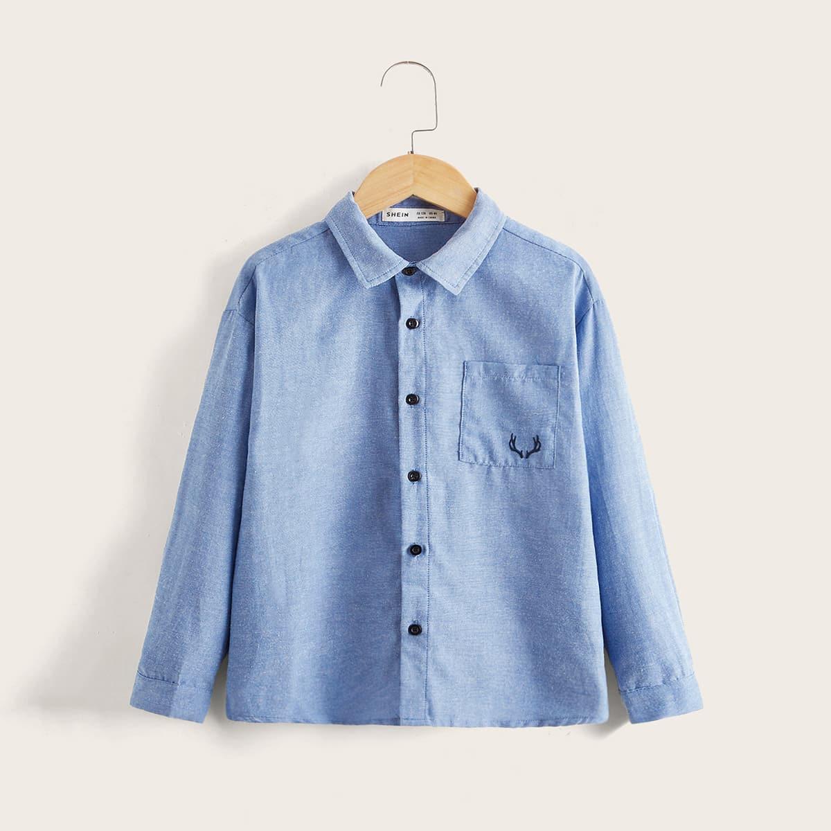 Рубашка на пуговицах с вышивкой для мальчиков