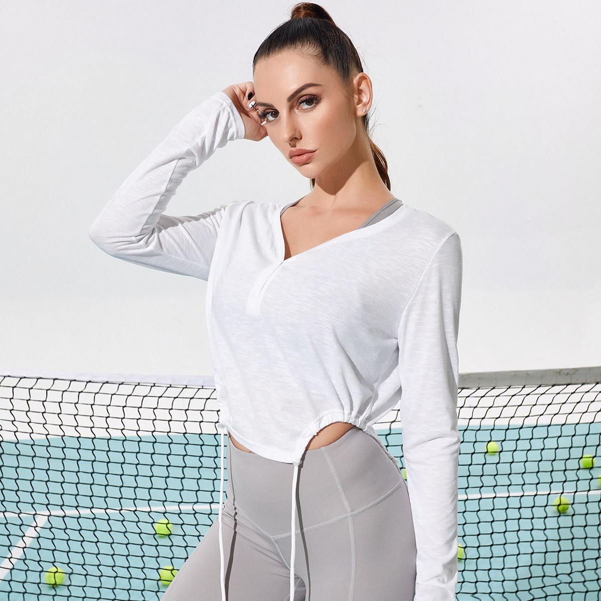 Drawstring Hem Sports Tee, SHEIN  - buy with discount