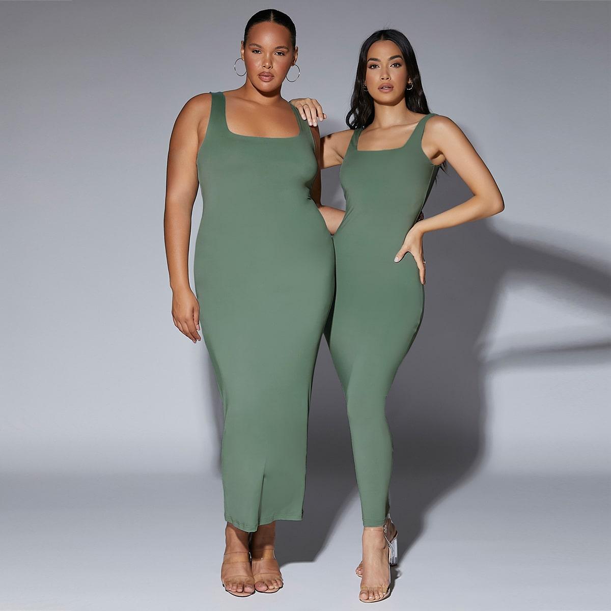 размера плюс 1шт Платье без рукавов облегающий