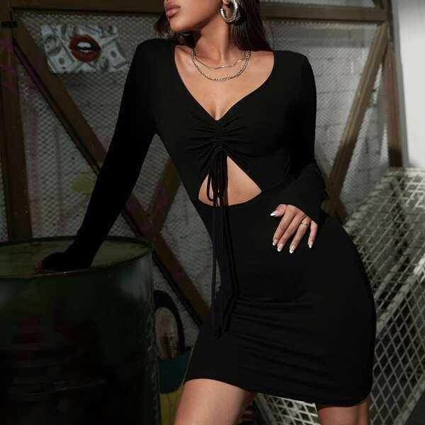 Drawstring Ruched Front Peekaboo Bodycon Dress, Black