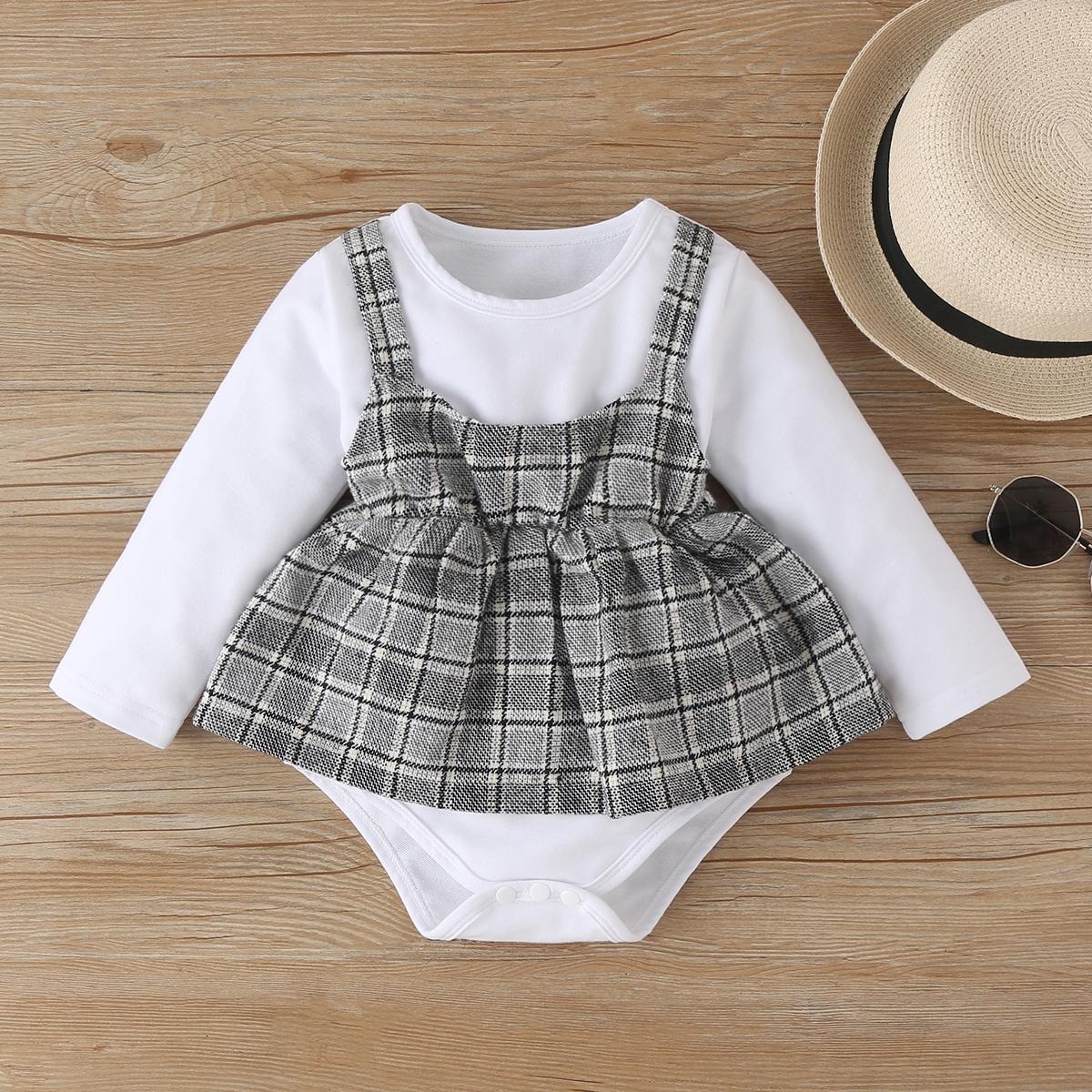 для девочек в клетку Составной комплект Боди Платье от SHEIN