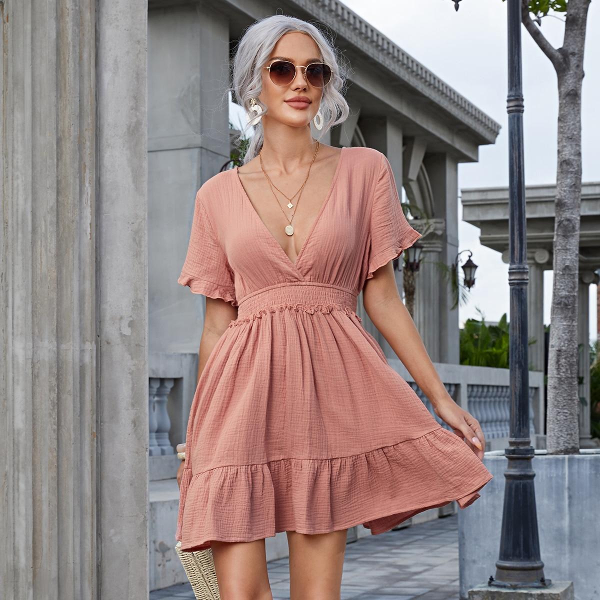 Платье с воланами на рукавах SheIn swdress07210401305