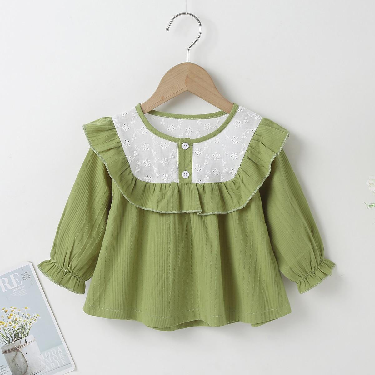 для девочек Блуза пуговица с оборками с рукавами-воланами SheIn sktop25210531546