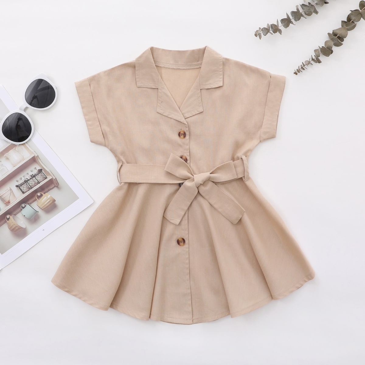 для девочек Платье-рубашка с поясом на пуговицах от SHEIN