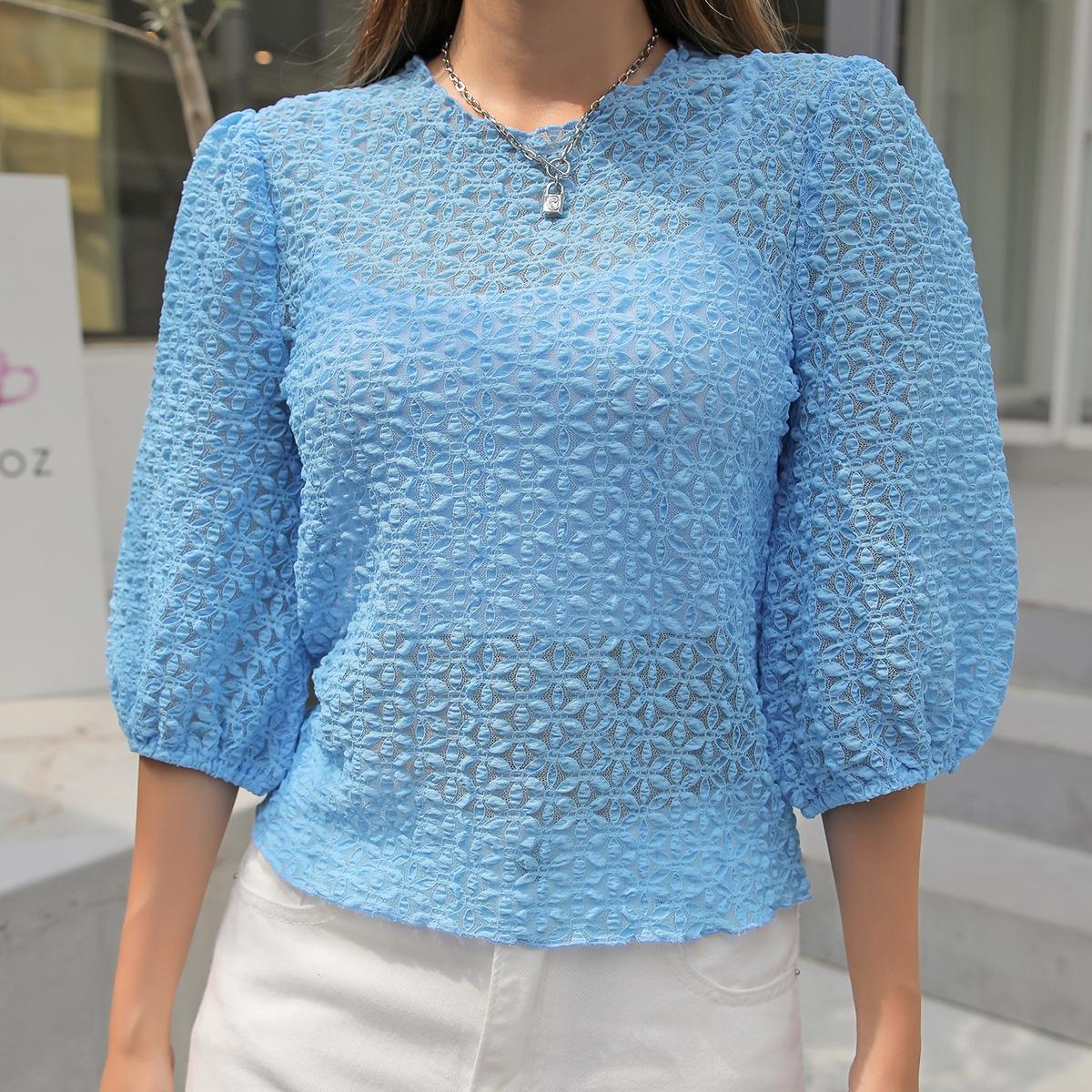 Блуза из гипюра с цветочным рисунком SheIn swblouse30210618880