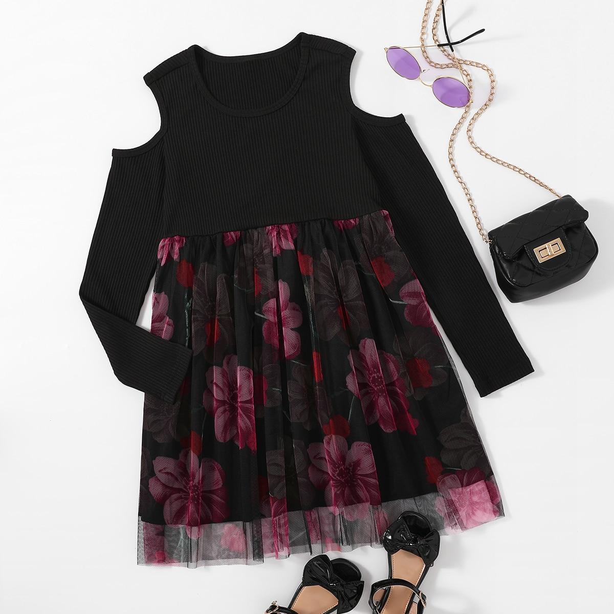 Girls Cold Shoulder Floral Print Smock Dress