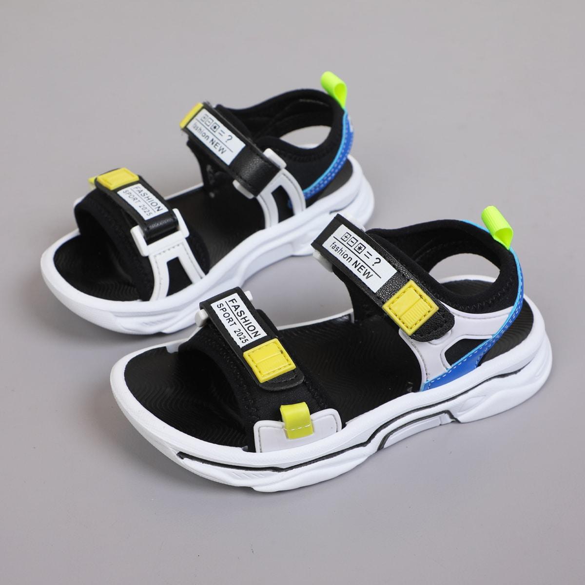 Контрастные сандалии на липучке для мальчиков SheIn skshoes25210611680