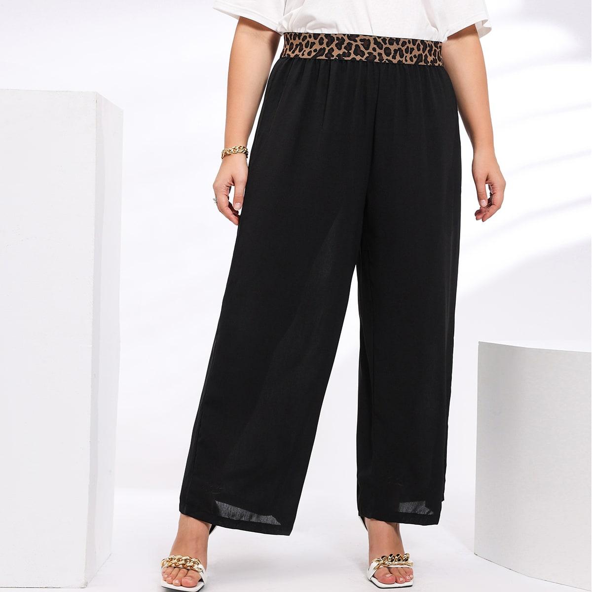 Plus Leopard Waist Wide Leg Pants, SHEIN  - buy with discount