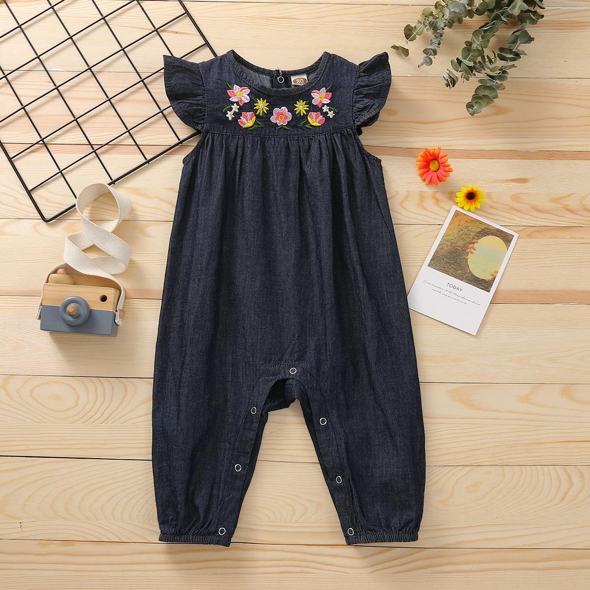 для девочек Комбинезон с цветочной вышивкой с оборками джинсовый