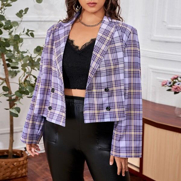 Plus Tartan Lapel Collar Button Front Blazer, Multicolor