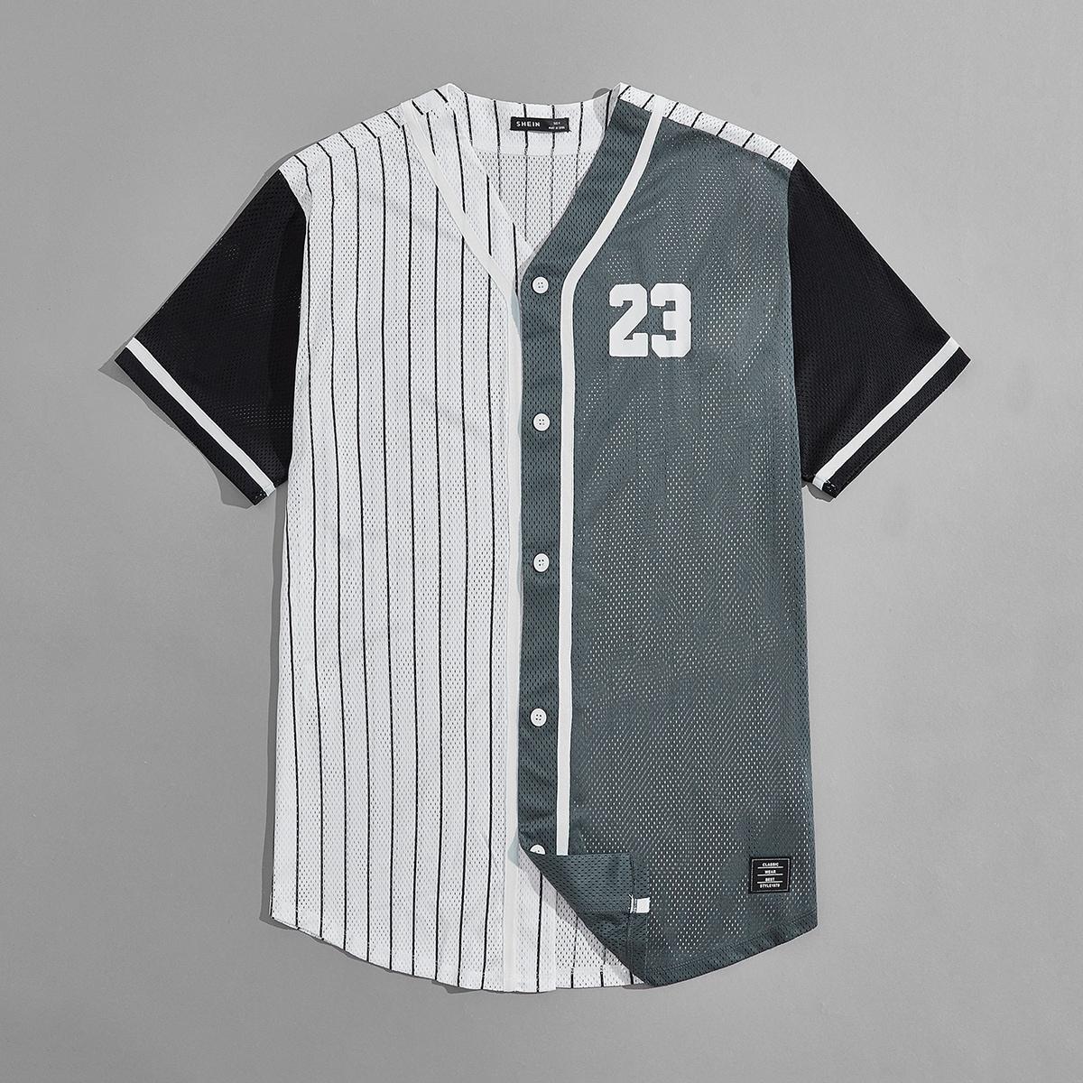 Мужской Рубашка в полоску с текстовым принтом на пуговицах сетчатый