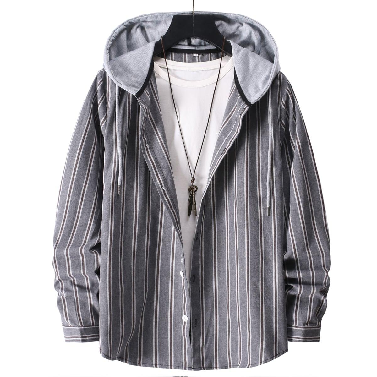 Мужской Рубашка в полоску с капюшоном без футболки