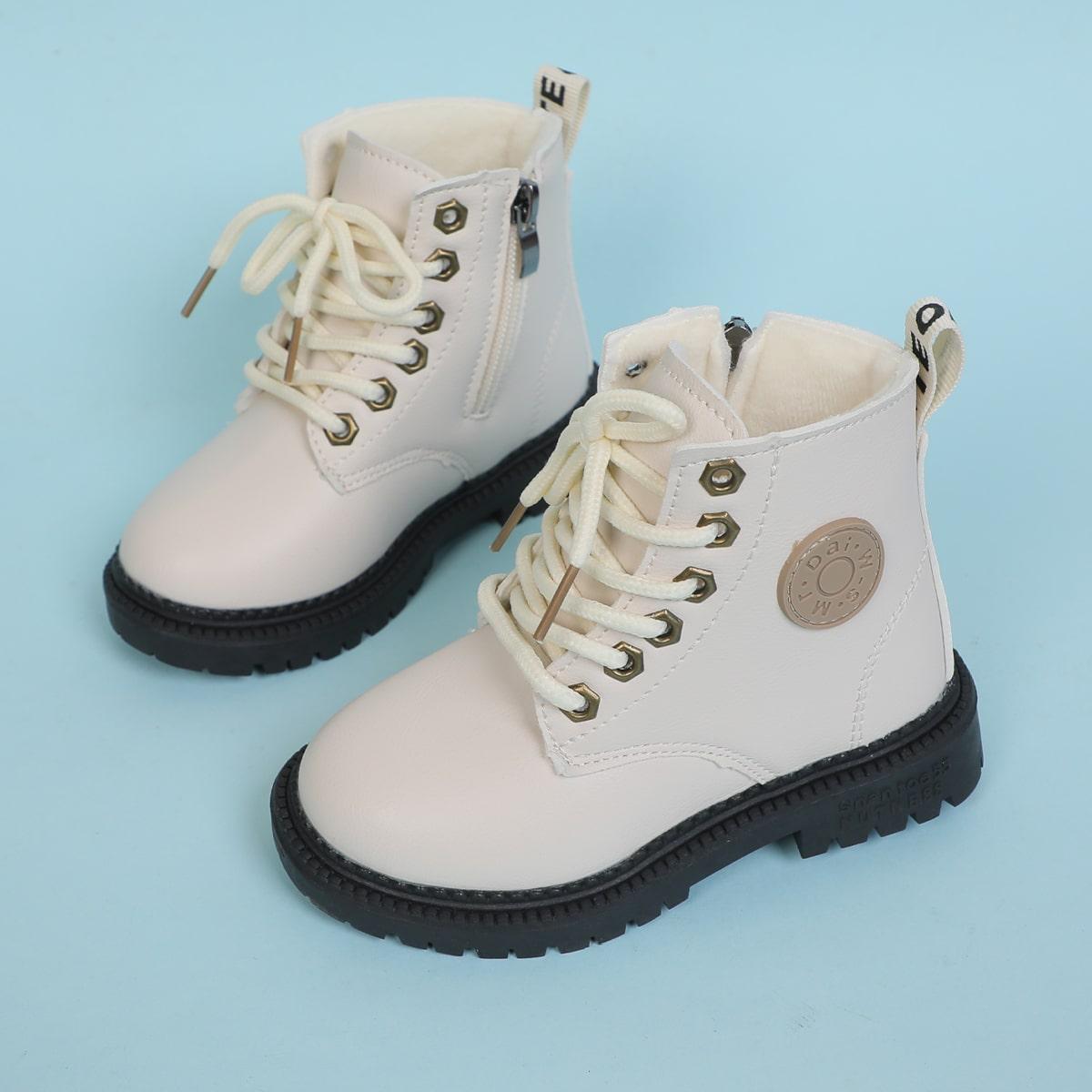 для девочек Ботинки комбат с текстовой заплатой со шнурком на молнии SheIn sk2107081111105884