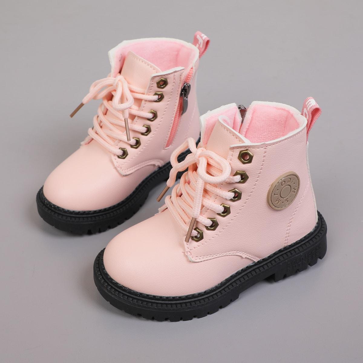для девочек Ботинки комбат с текстовой заплатой со шнурком на молнии SheIn sk2107089916482285