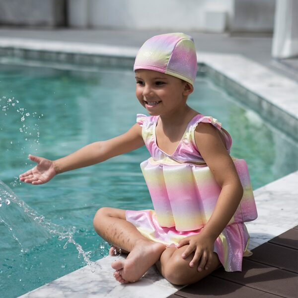 Toddler Girls Ruffle Sleeve Ombre Swim Dress, Multicolor