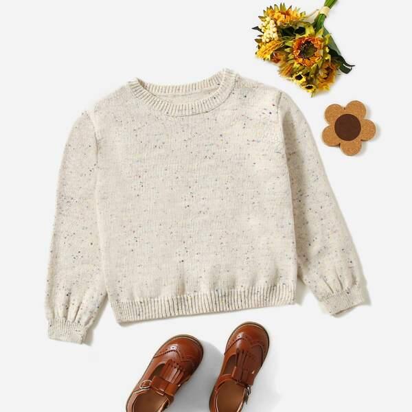 Girls Marled Round Neck Sweater, Beige