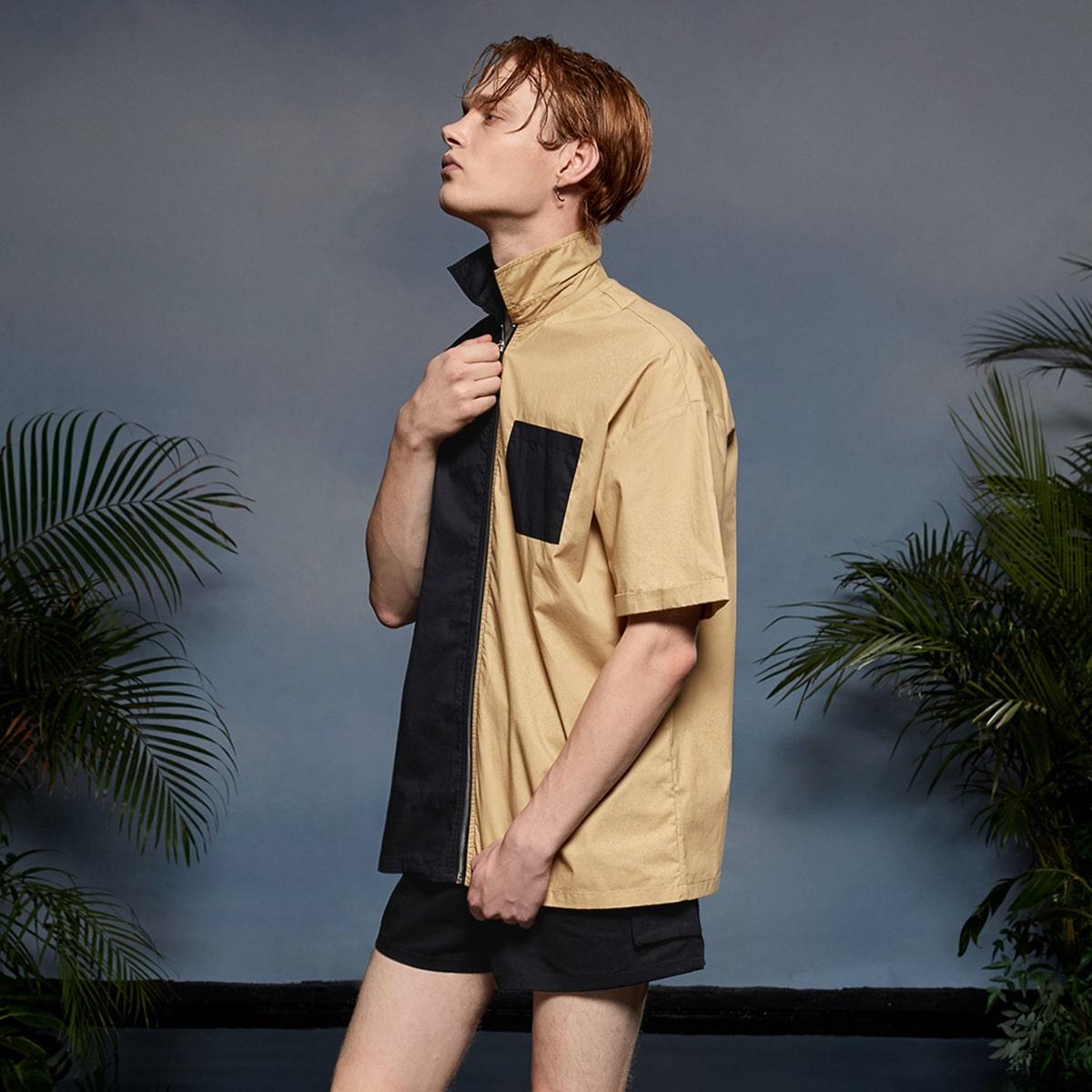 с карманами на молнии Контрастный цвет Повседневный Мужские рубашки