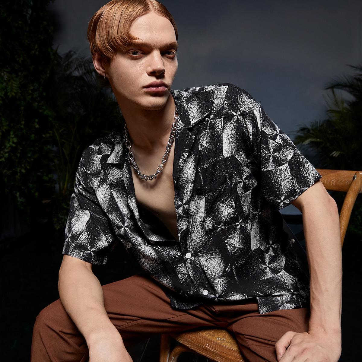 Мужской Блуза с графическим принтом SheIn smshirt07210517629