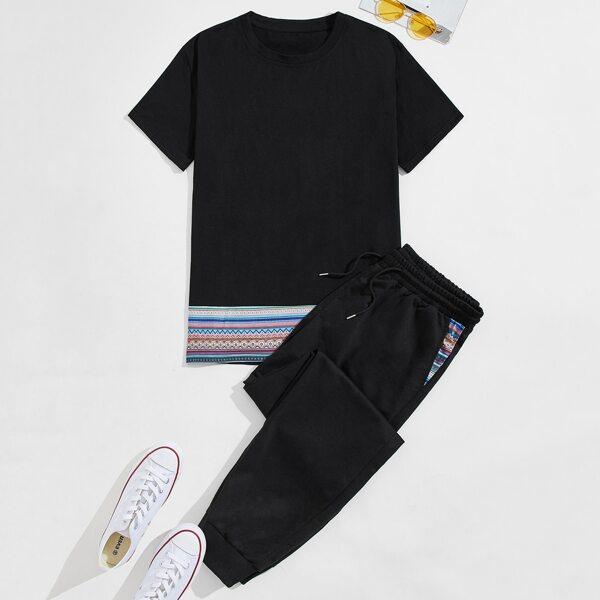 Men Geo Print Tee & Drawstring Sweatpants, Black