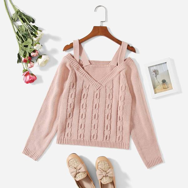 Girls Cold Shoulder Cable Knit Sweater, Dusty pink