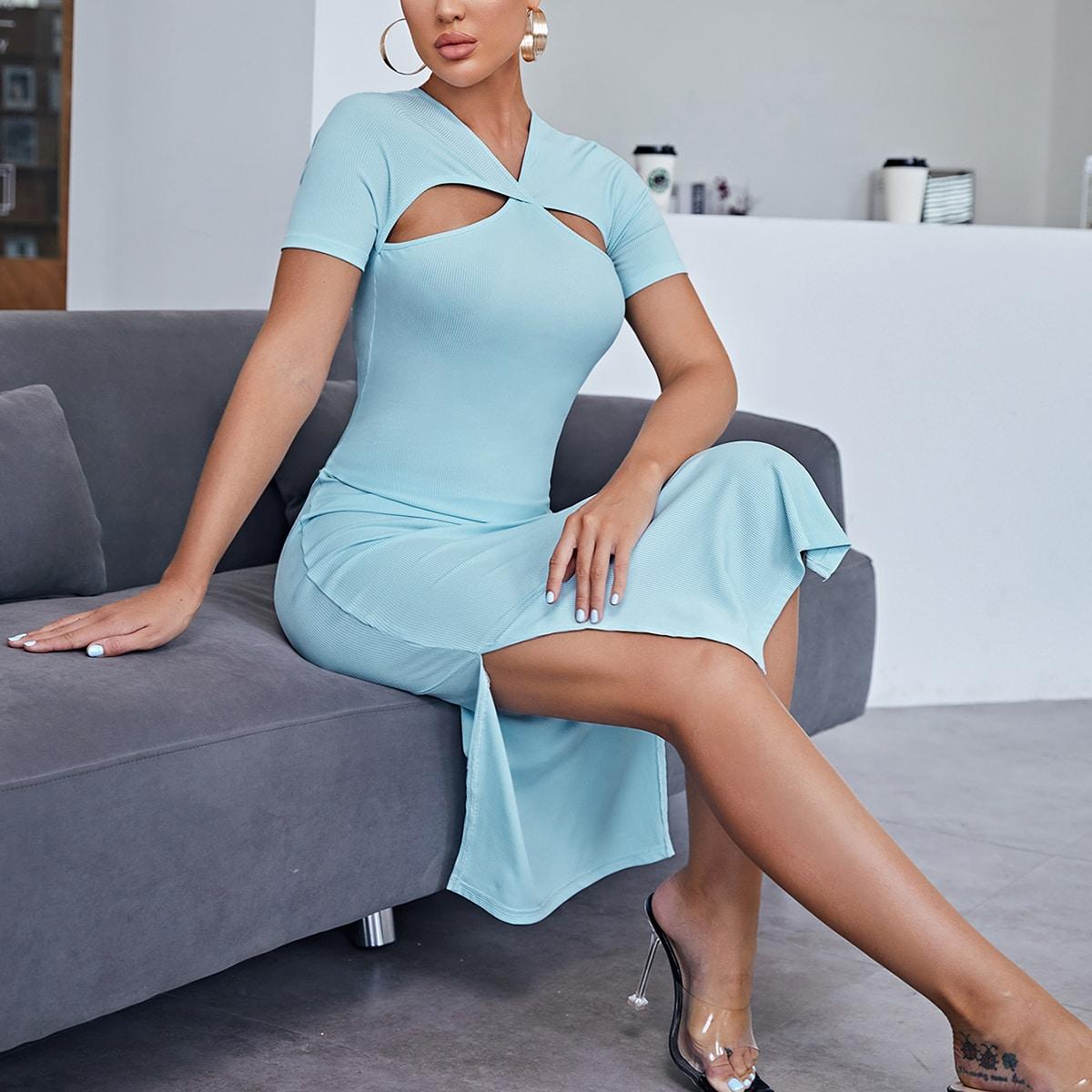 Платье с разрезом высоким разрезом SheIn swdress07210607066