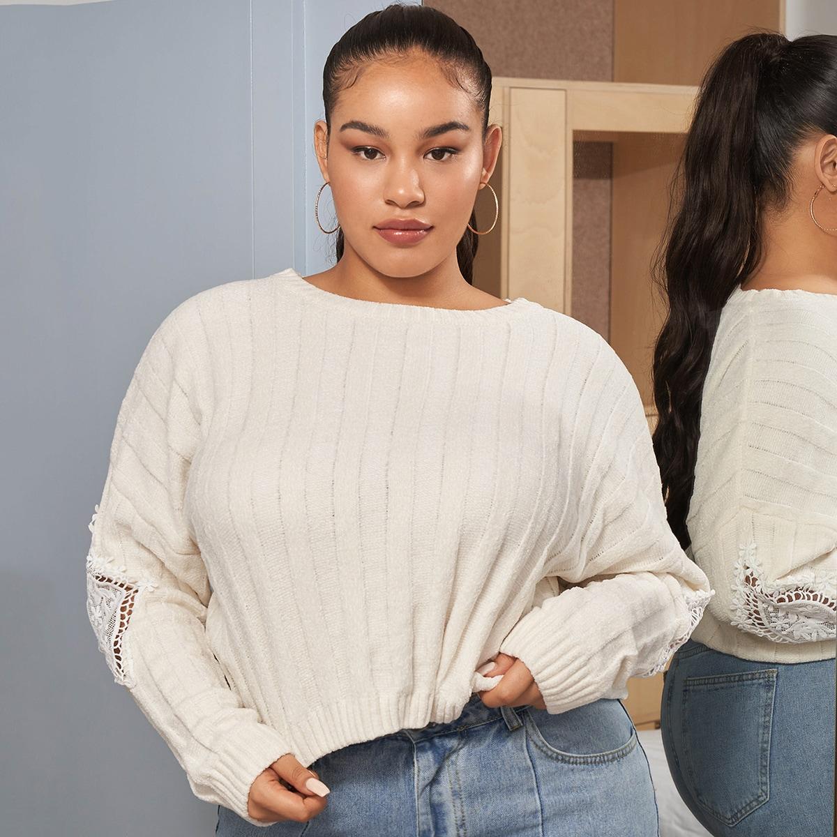 Plus Guipure Lace Appliques Sweater