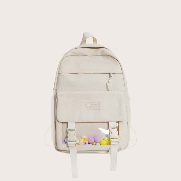 Minimalist Letter Patch Pocket Front Backpack, White