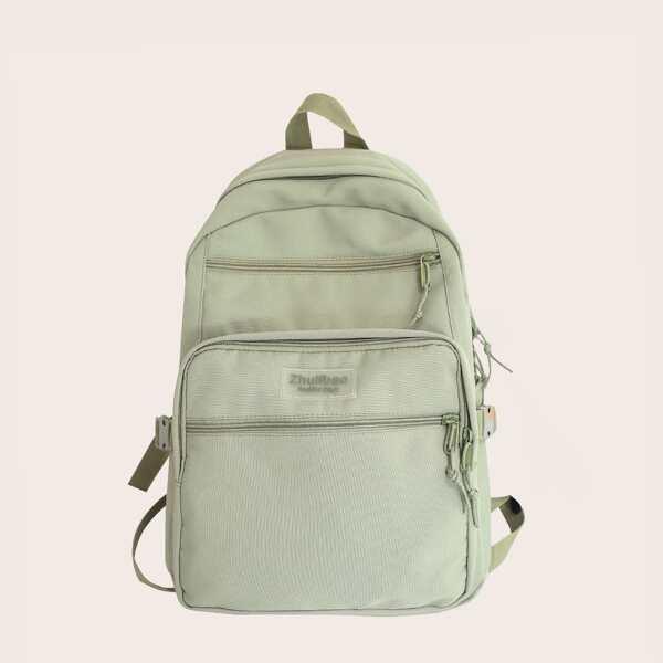 Minimalist Letter Patch Pocket Front Backpack, Green