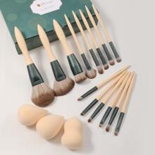 14pcs Makeup Brush Set & 3pcs Makeup Sponge